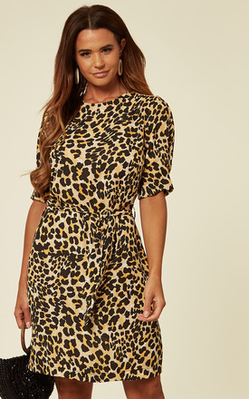 Leopard Print Tie Waist Shift Dress by SOSANDAR