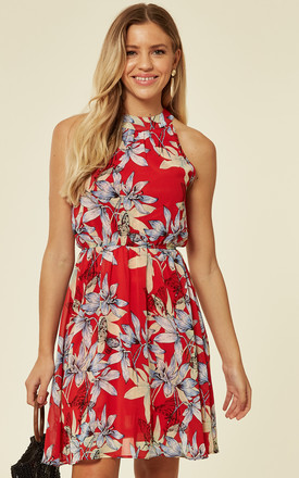 Exclusive Halter Neck Chiffon Tea Dress In Red Tropical Floral Print by TENKI LONDON Product photo