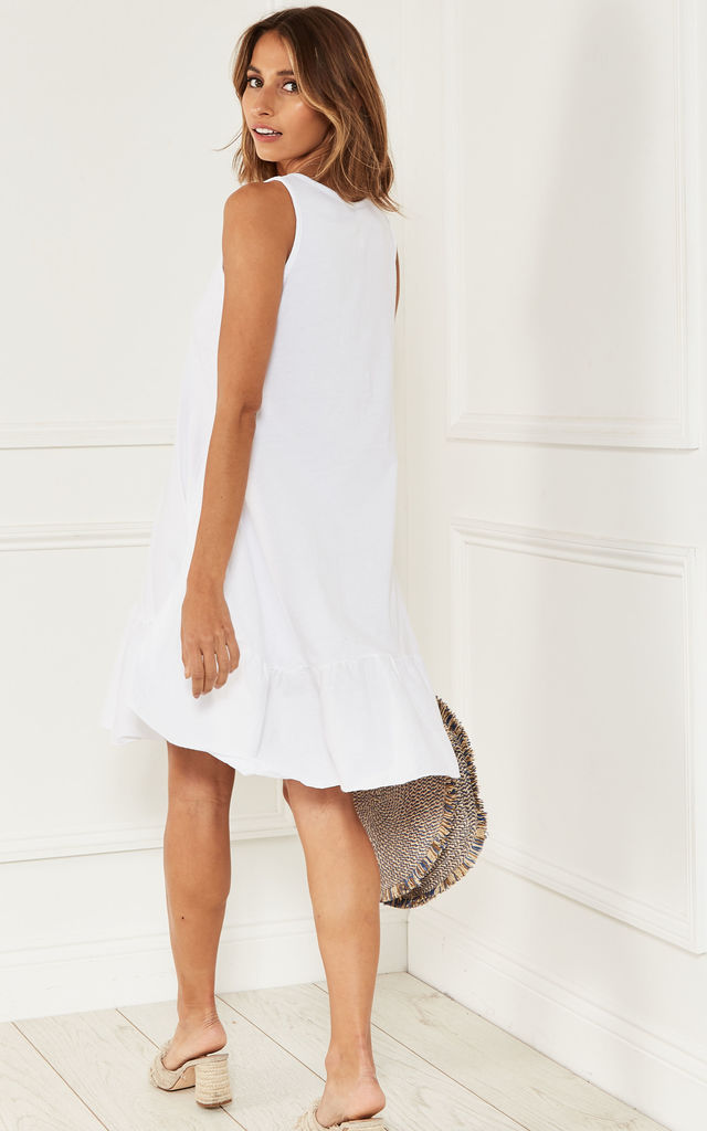 Dropped Hem Sleeveless Dress in White by Bella and Blue