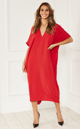 Kaftan Style Midi Dress In Red by Bella and Blue Product photo