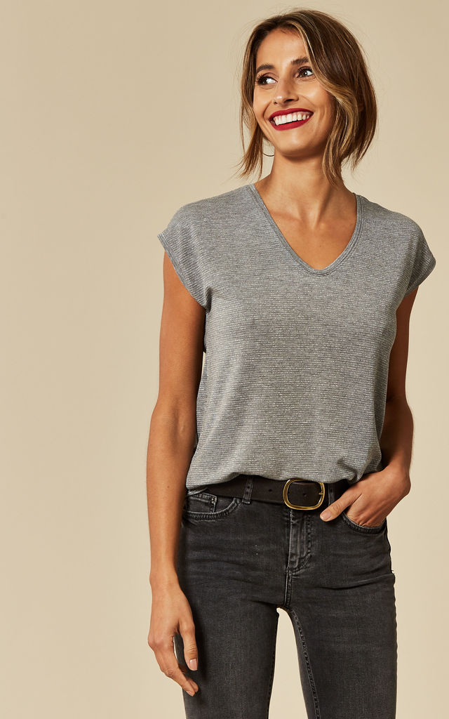 Shimmer Stripe Tee in Grey by Pieces