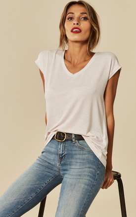 Shimmer Stripe Tee in White by Pieces