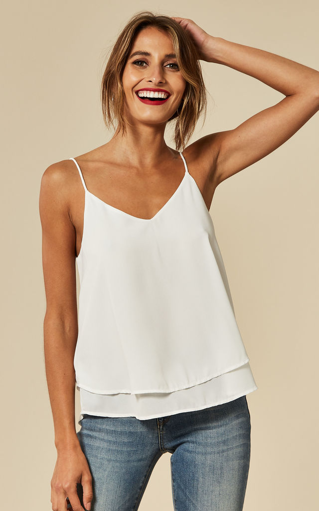Double Layered Strappy Cami in White by Pieces