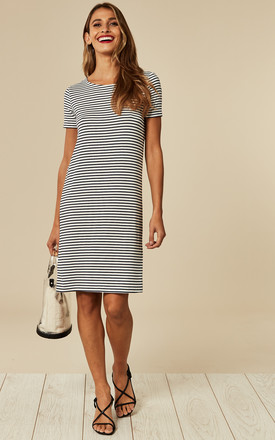 Short Sleeve Jersey Midi Dress In White Stripe by Pieces Product photo