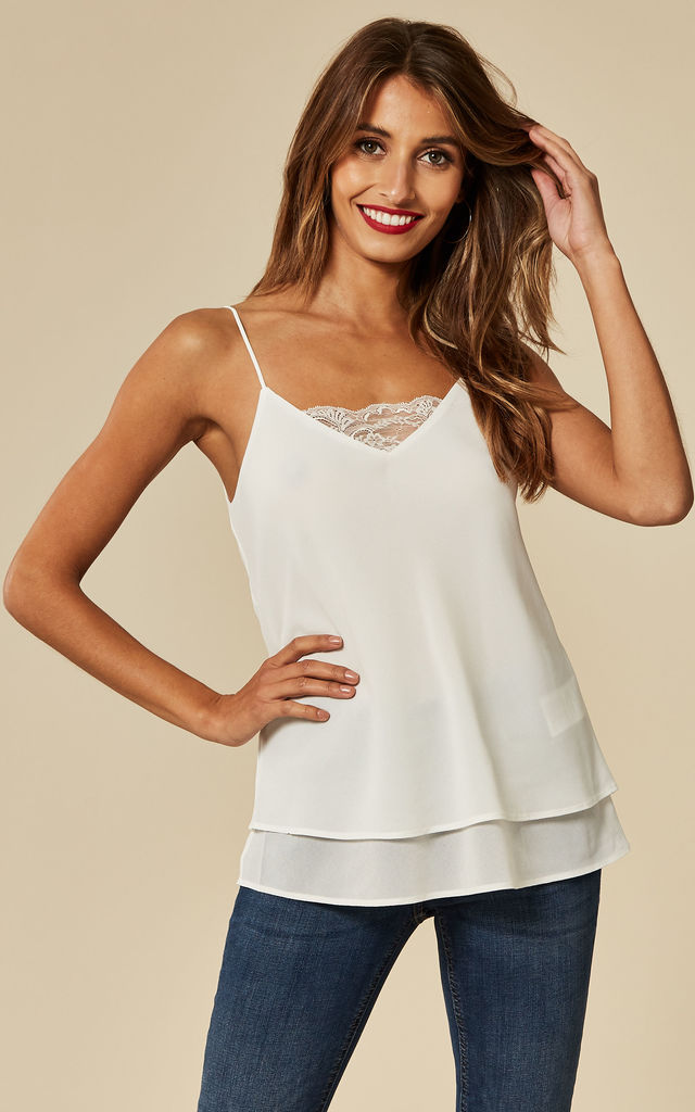 Lace Layered Slip Top in White by Pieces