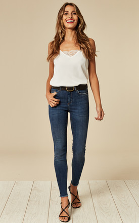 Medium Blue Mid Waist Cropped Skinny Jean With Raw Hem by Pieces Product photo