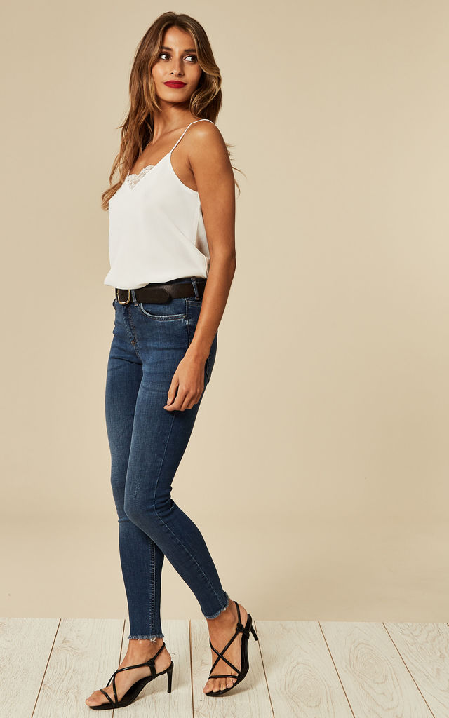 Medium Blue Mid Waist Cropped Skinny Jean with raw hem by Pieces