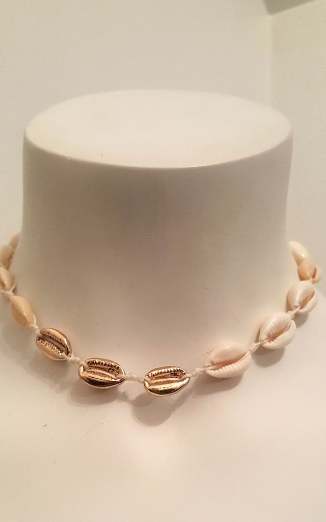Shell Jewellery Colva Shell and Gold Tone Choker Necklace by Seventy Six Fashion