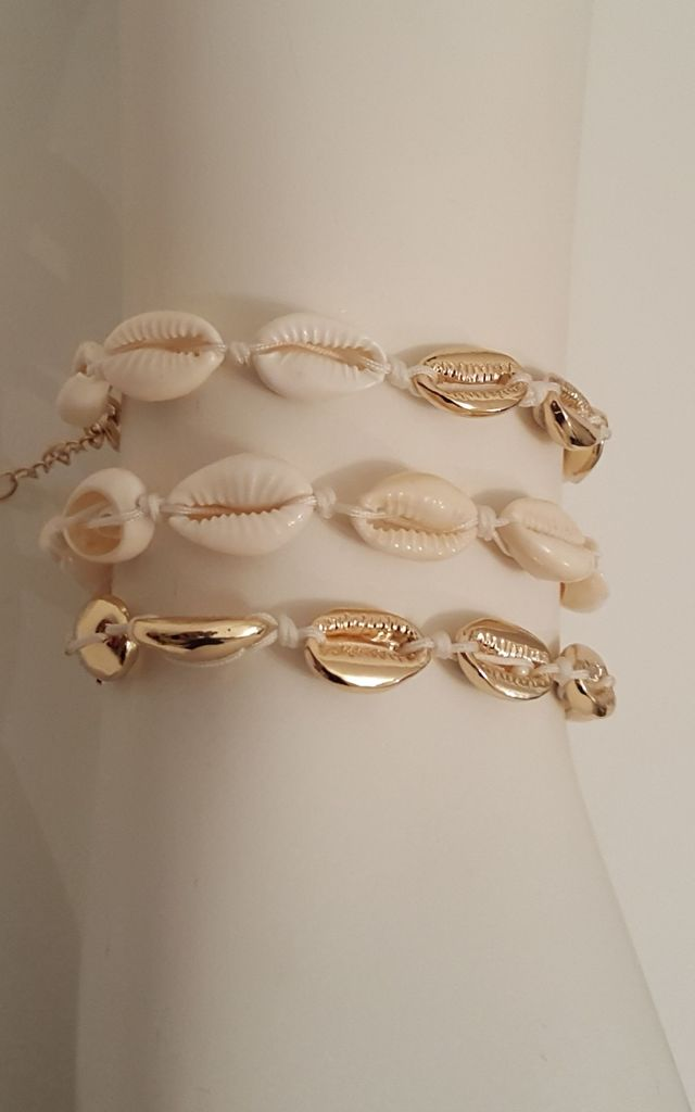 Shell Jewellery Colva Shell and Gold Tone 3 Pack Bracelet Set by Seventy Six Fashion