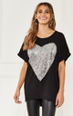 Oversized Sequin Heart Top in Black by Bella and Blue