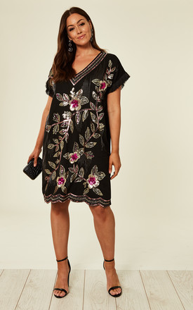 Plus Size Short Shift Dress in Black by Praslin