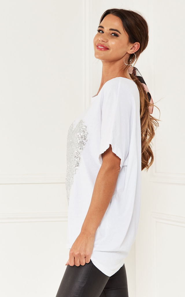 Oversized Sequin Heart Top in White by Bella and Blue