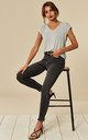 Grey Denim Mid Waist Cropped Skinny Jean with raw hem by Pieces