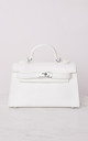 Faux Leather Mini Tote Bag White by LILY LULU FASHION