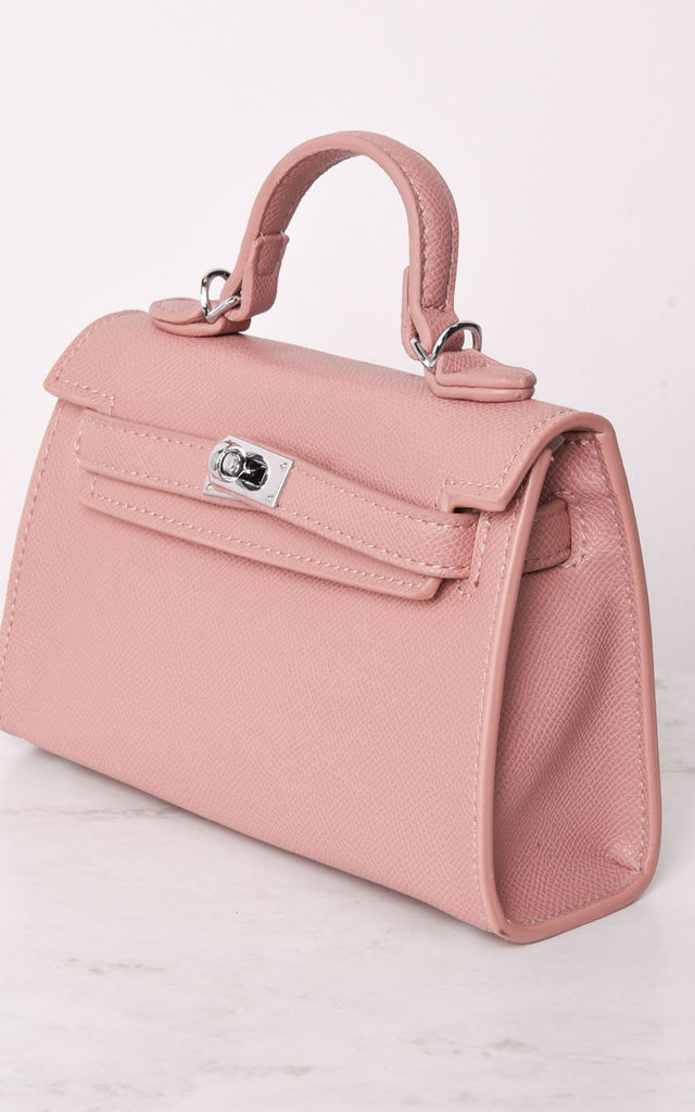 faux leather mini tote bag pink by LILY LULU FASHION