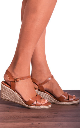 Tan Criss Cross Espadrilles Wedged Platforms Wedges Strappy Sandals by Shoe Closet Product photo