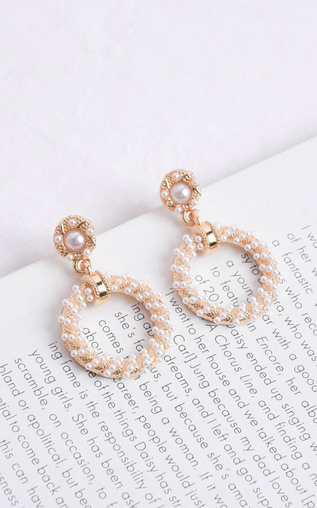 Faux Pearl Double Ring Drop Earrings Gold by LILY LULU FASHION