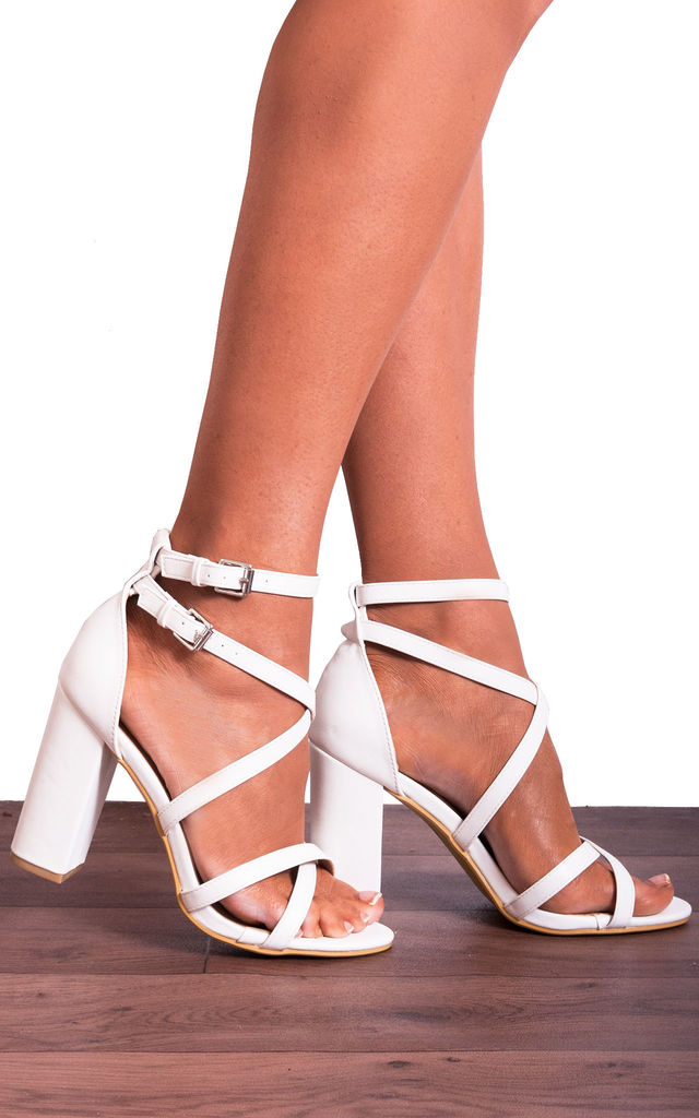 nice shoes wholesale sales hot sale online White Block Heeled Ankle Strap Peep Toes Strappy Sandals High Heels Shoes  By Shoe Closet
