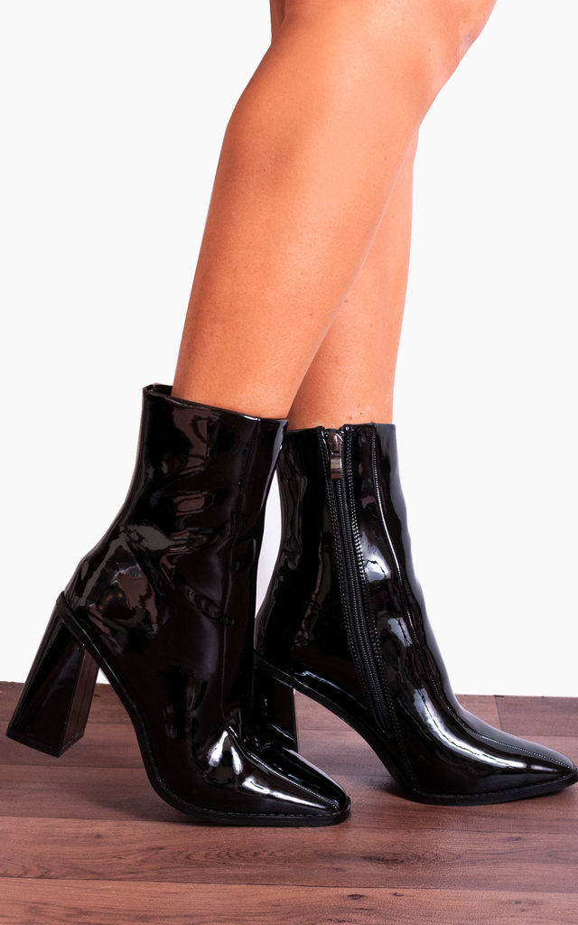 45f841d55ae Black Patent Faux Leather Block High Heeled Square Toe Ankle Boots By Shoe  Closet