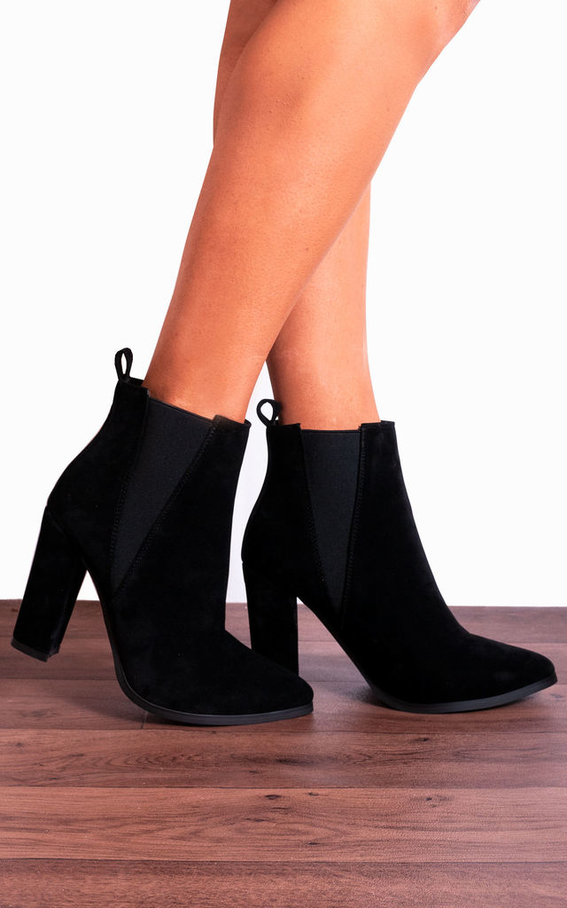 Black Chelsea Pointed Block High Heeled Heels Ankle Boots by Shoe Closet