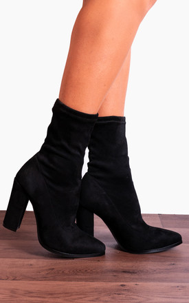 Black Stretch Sock Pull On Ankle High Heels Boots by Shoe Closet Product photo