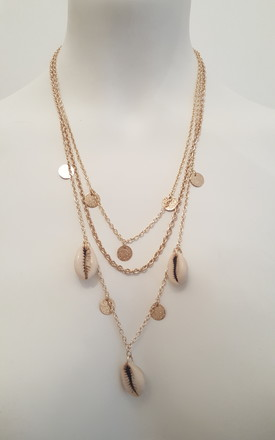 Shell Jewellery Colva Shell Layered Gold Tone Long Necklace by Seventy Six Fashion Product photo
