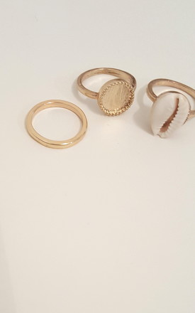 Shell Jewellery Colva 3 Piece Ring Set In Gold Tone by Seventy Six Fashion Product photo