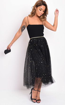 high waisted star sequin tulle midaxi skirt black by LILY LULU FASHION