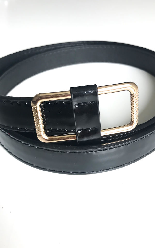 Black Patent Belt with Gold Buckle by FreeSpirits
