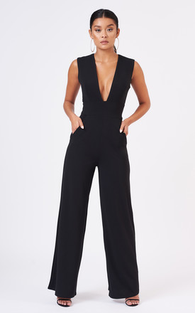 Black Tailored Plunge Wide Leg Jumpsuit by Club L London