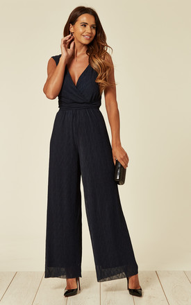 Navy Pleated Jumpsuit by Liquorish Product photo
