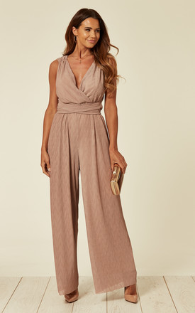 Nude Pleated Jumpsuit by Liquorish Product photo