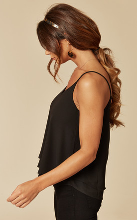 Double Layered Strappy Cami In Black by Pieces