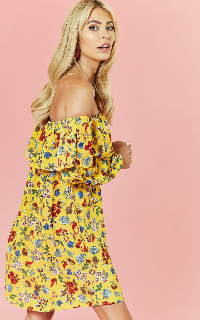 Bardot Long Sleeve Mini Dress in Floral Print by Glamorous