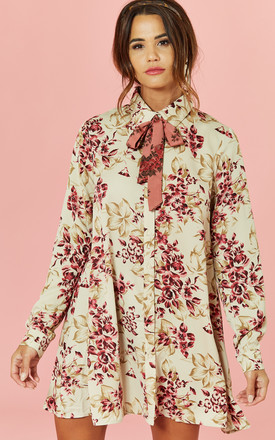 Floral Swing Shirt Dress With Tie by Glamorous Product photo