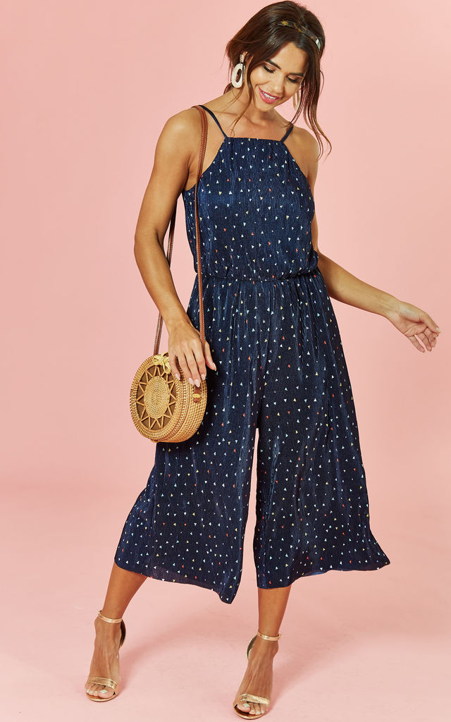 Sleeveless Culotte Jumpsuit in Navy Polkadot by Glamorous