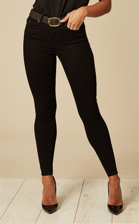 Black Mid Waist Cropped Skinny Jeans by Pieces