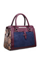 SNAKE PRINT SUEDE TOTE NAVY by BESSIE LONDON