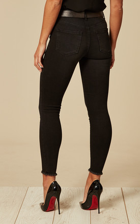 Black Mid Waist Cropped Skinny Jean with raw hem by Pieces