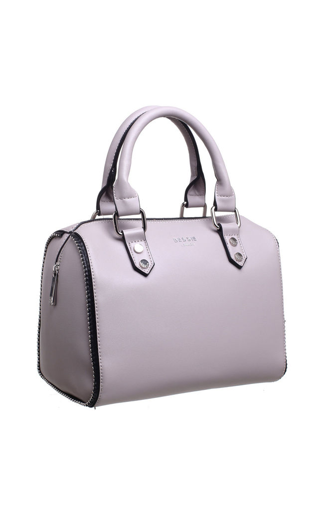 SMALL ZIP BOWLING TOTE BAG GREY by BESSIE LONDON