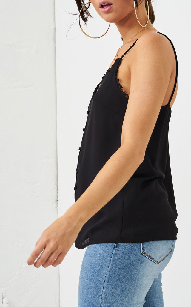 Rhonda Black Button Detail Cami Top by love frontrow