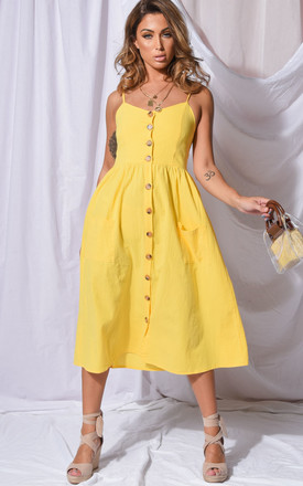 Front Button Through Strappy Midi Dress Yellow by LILY LULU FASHION Product photo