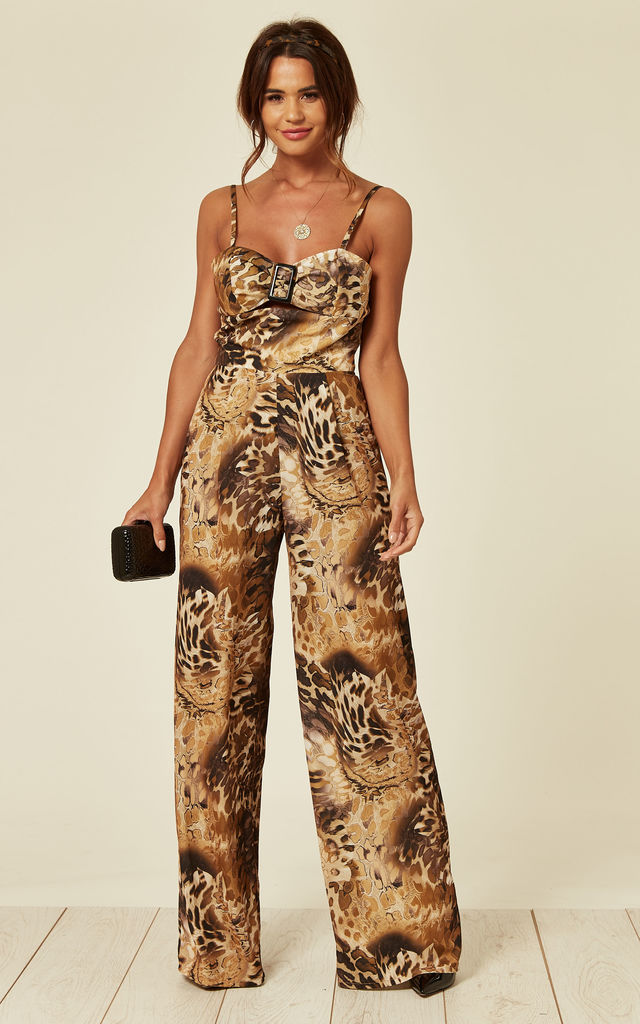 Ana Leopard Print Jumpsuit with Buckle Detail by Love