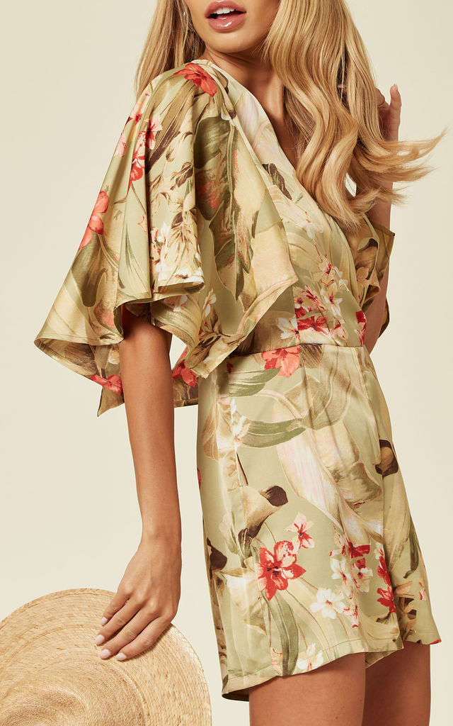 Batwing Sleeve Playsuit in tropical jungle print by Another Look