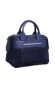 SUEDE DOUBLE HANDLE TOTE BAG BLUE by BESSIE LONDON