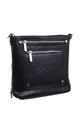 DOUBLE FRONT ZIP POCKET CROSSBODY BAG BLACK by BESSIE LONDON