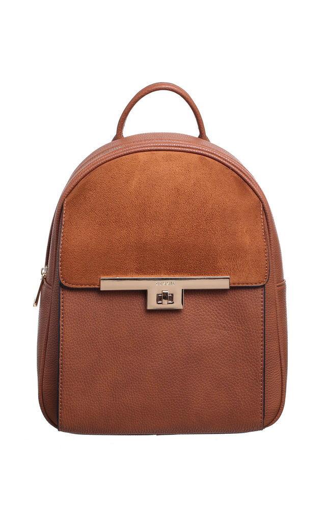 TWIST LOCK FRONT POCKET SUEDE BACKPACK TAN by BESSIE LONDON