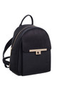 TWIST LOCK FRONT POCKET SUEDE BACKPACK BLACK by BESSIE LONDON