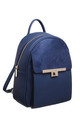 TWIST LOCK FRONT POCKET SUEDE BACKPACK BLUE by BESSIE LONDON