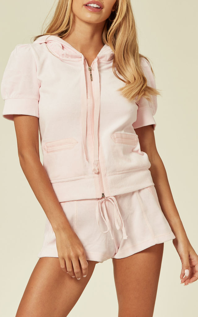 Baby Pink Top and Shorts Velour Tracksuit Set by CY Boutique